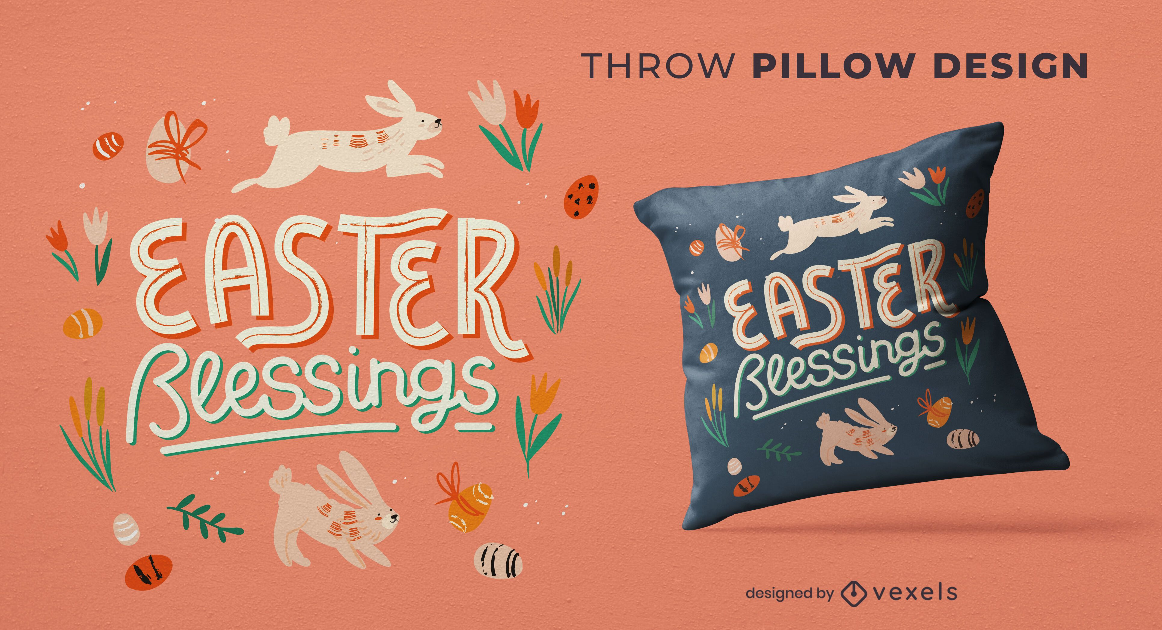 Easter blessings throw pillow design