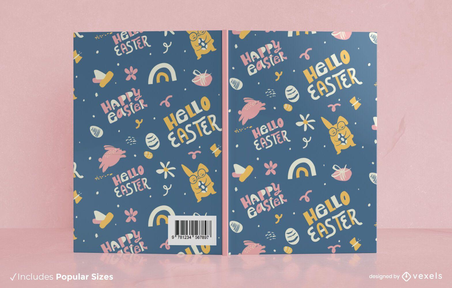 Design de capa de livro feliz páscoa
