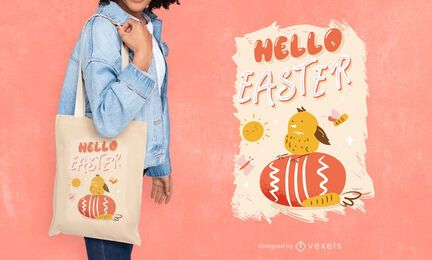 Hello easter tote bag design