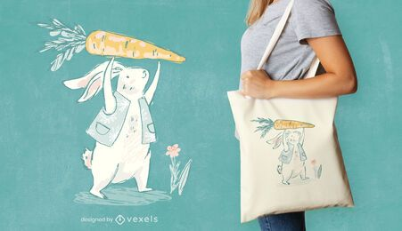 Bunny with carrot tote bag design