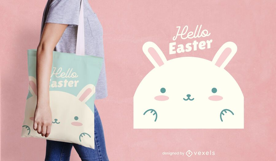 Hello easter bunny tote bag design