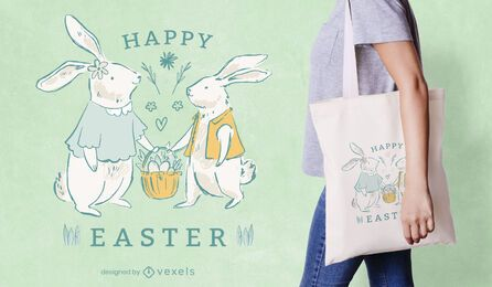 Happy easter tote bag design