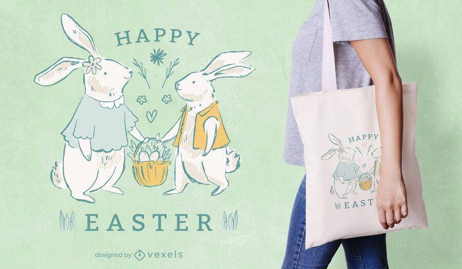 Happy easter tote bag design