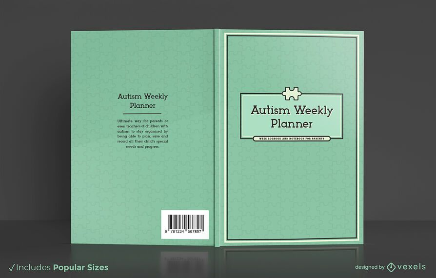 Autism weekly planner book cover design