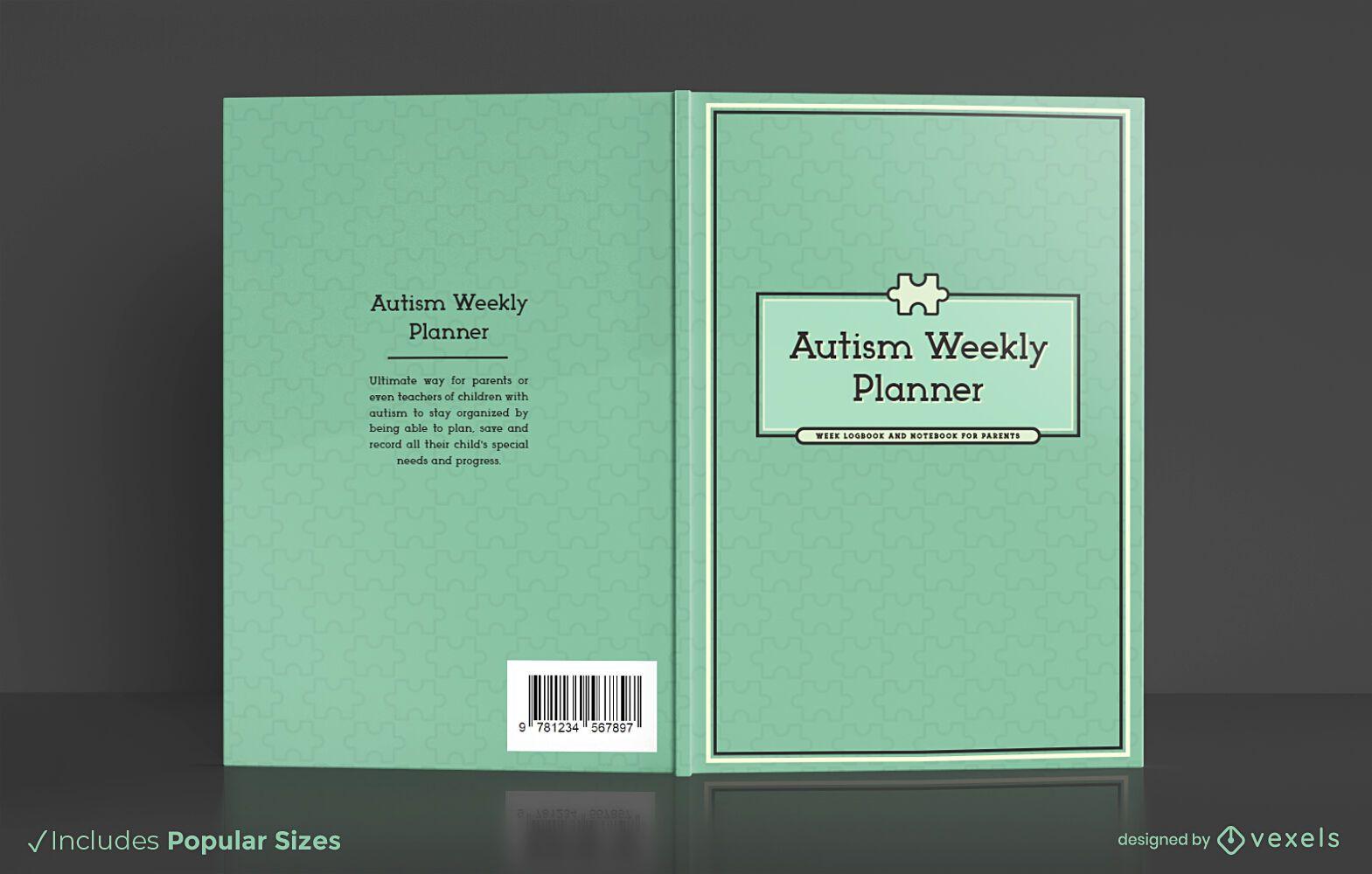 Diseño de portada de libro de planificador semanal de autismo