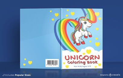 Unicorn coloring book cover design
