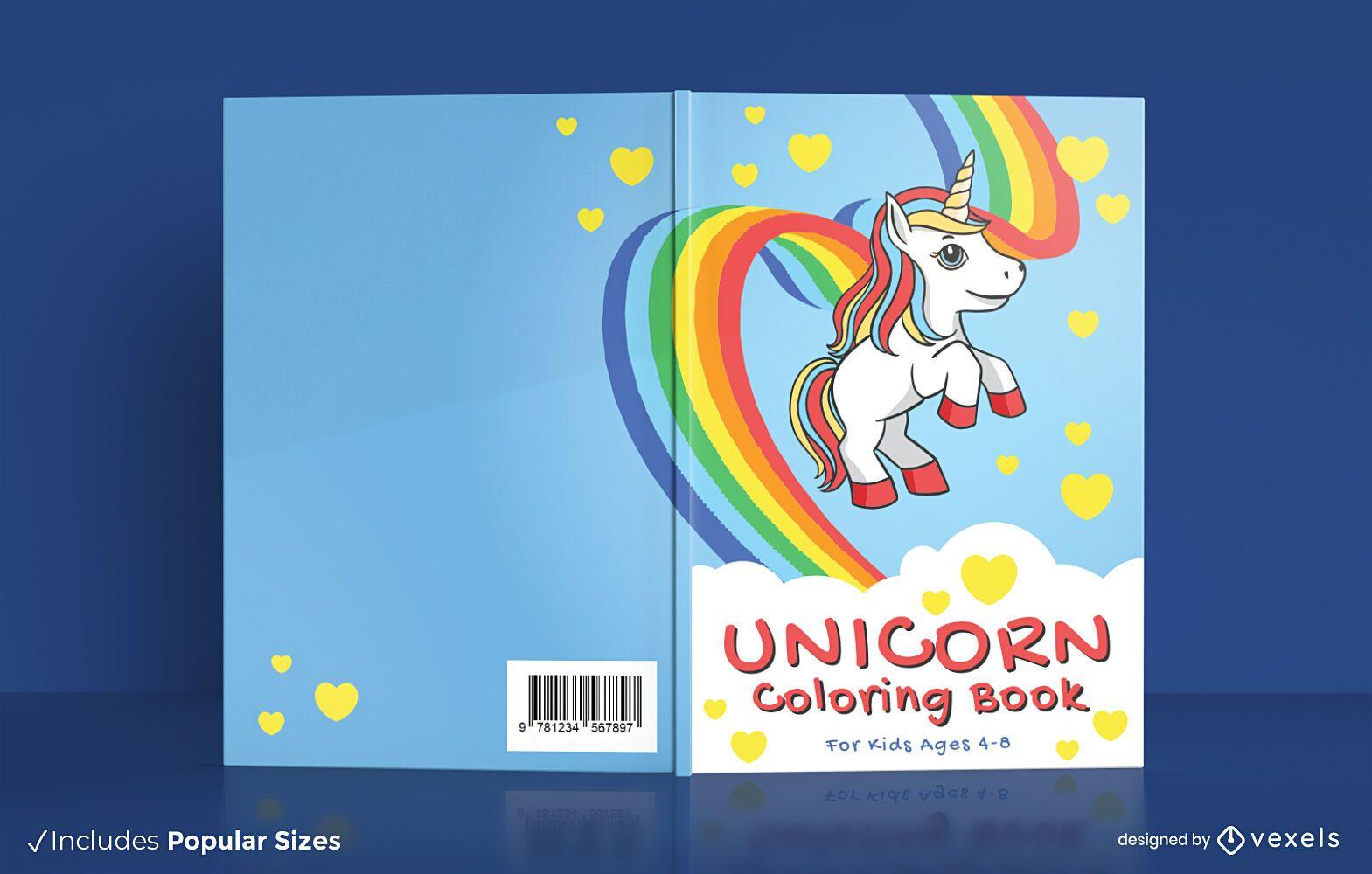 Diseño de portada de libro para colorear de unicornio