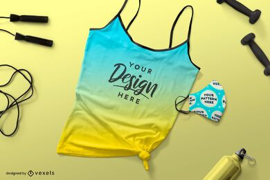 Gym tank top face mask mockup
