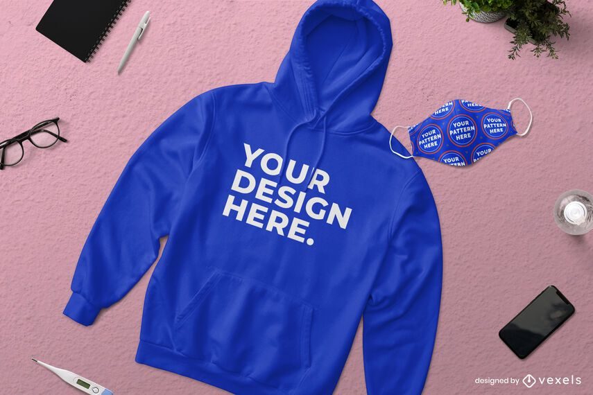 Hoodie face mask mockup composition