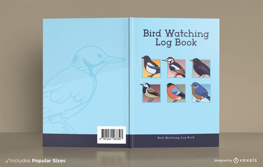 Diseño de portada de libro de registro de observación de aves