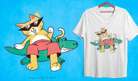 Diseño de camiseta cat pool