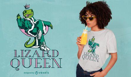 Diseño de camiseta de reina lagarto