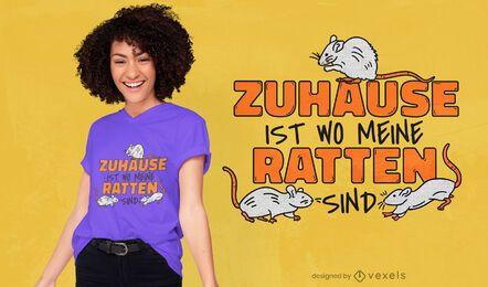 Design de t-shirt com citações alemãs de ratos