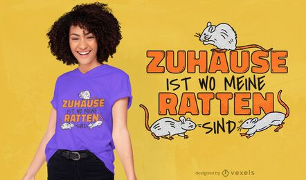 Diseño de camiseta de cita alemana de ratas.