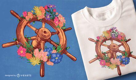 Diseño de camiseta de timón floral
