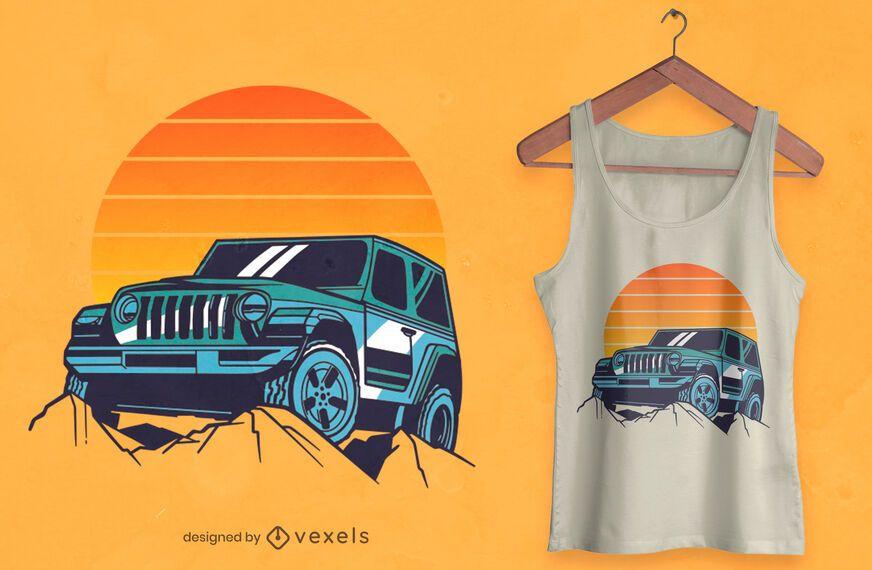 Conducir en diseño de camiseta al atardecer.