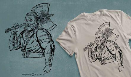 Guerreiro com design de camiseta de machado