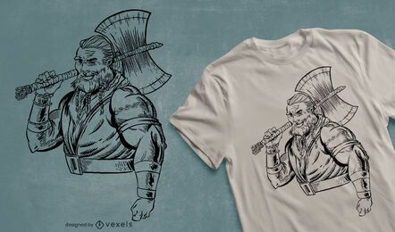 Warrior with ax t-shirt design