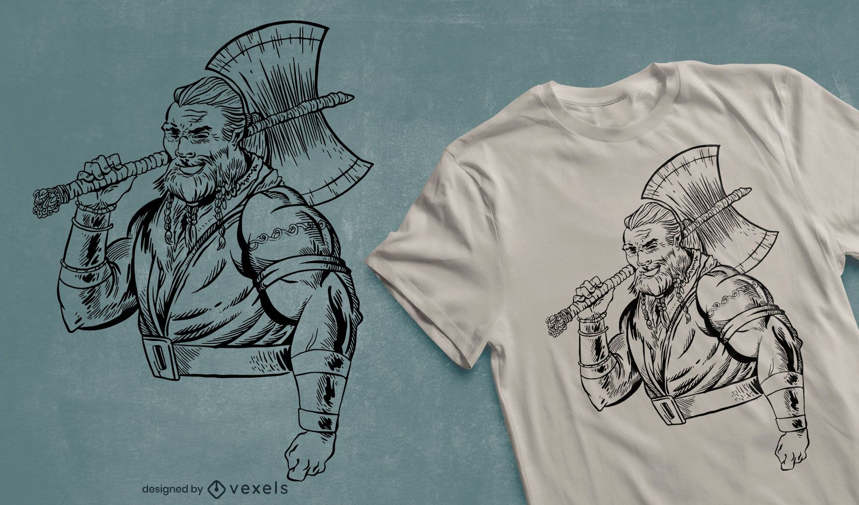Guerrero con diseño de camiseta de hacha.