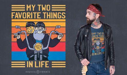 Diseño de camiseta de dos cosas favoritas.