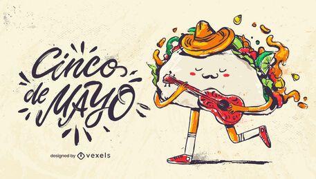 Ilustração de cinco de mayo taco
