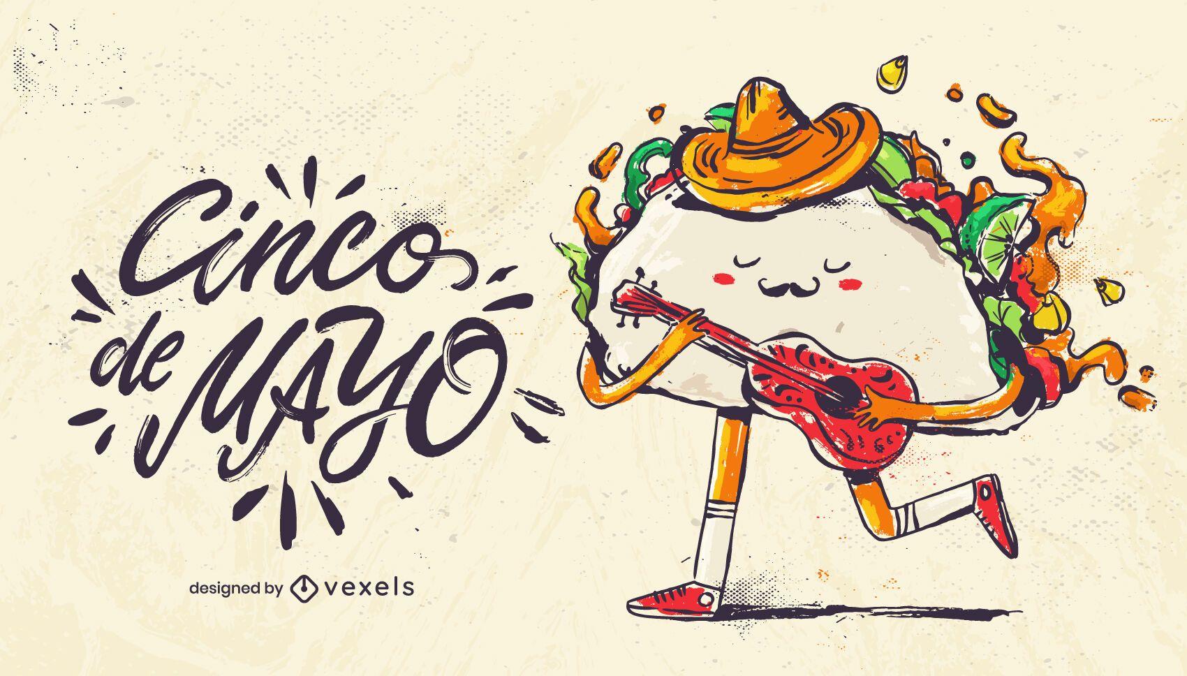 Ilustración de taco cinco de mayo