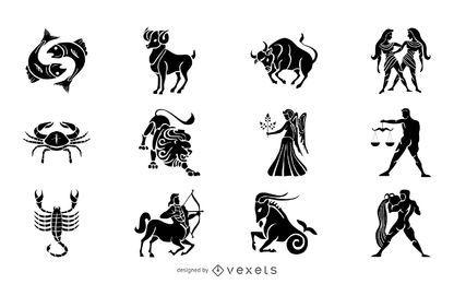 Conjunto de ilustração da silhueta dos signos do zodíaco