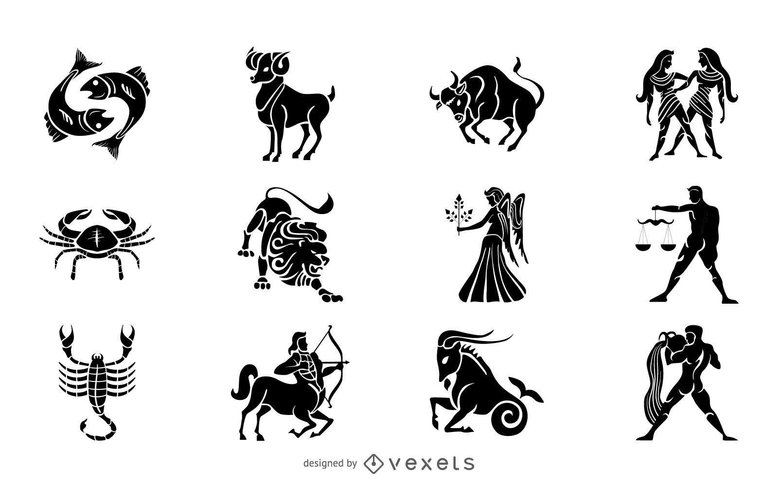 Conjunto de ilustración de silueta de signos del zodíaco
