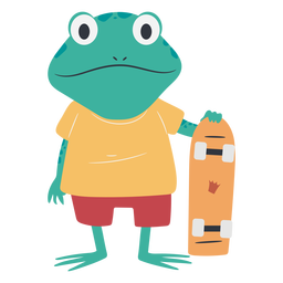 Personaje de rana patinadora