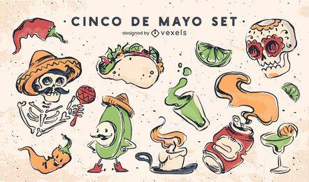 Conjunto de elementos de cinco de mayo
