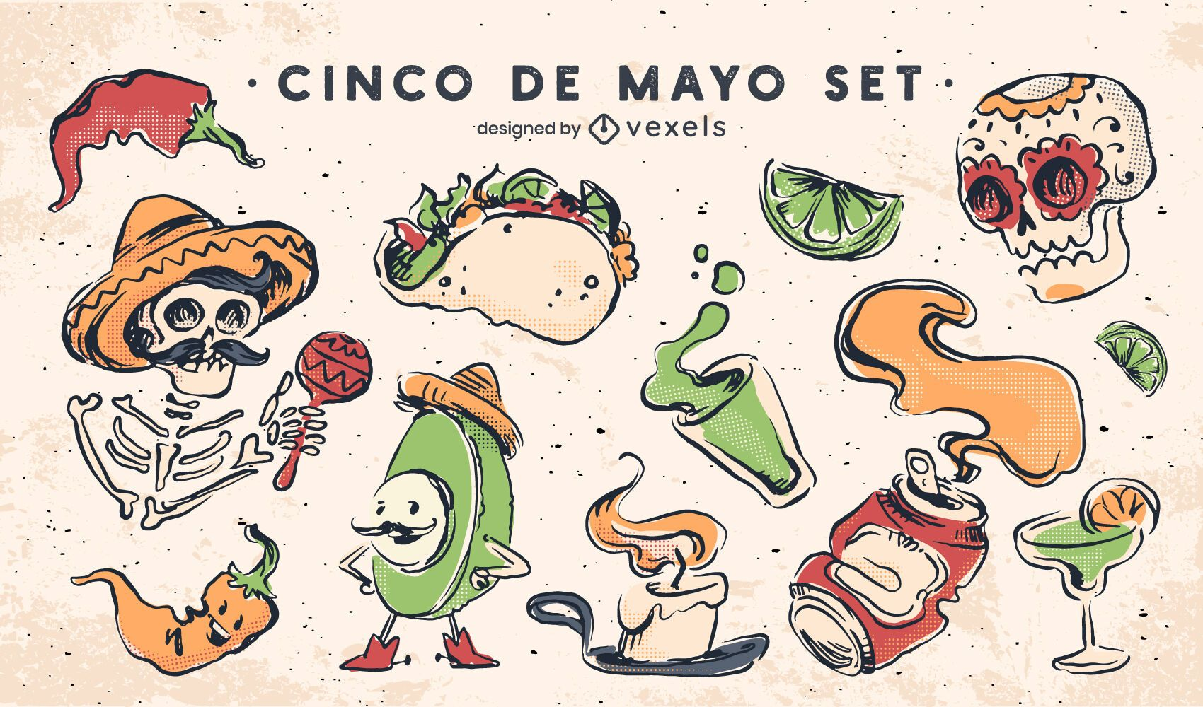 Cinco de mayo elements set