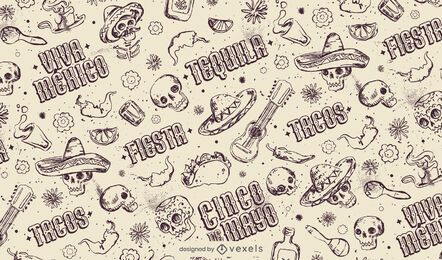 Cinco de mayo hand-drawn pattern