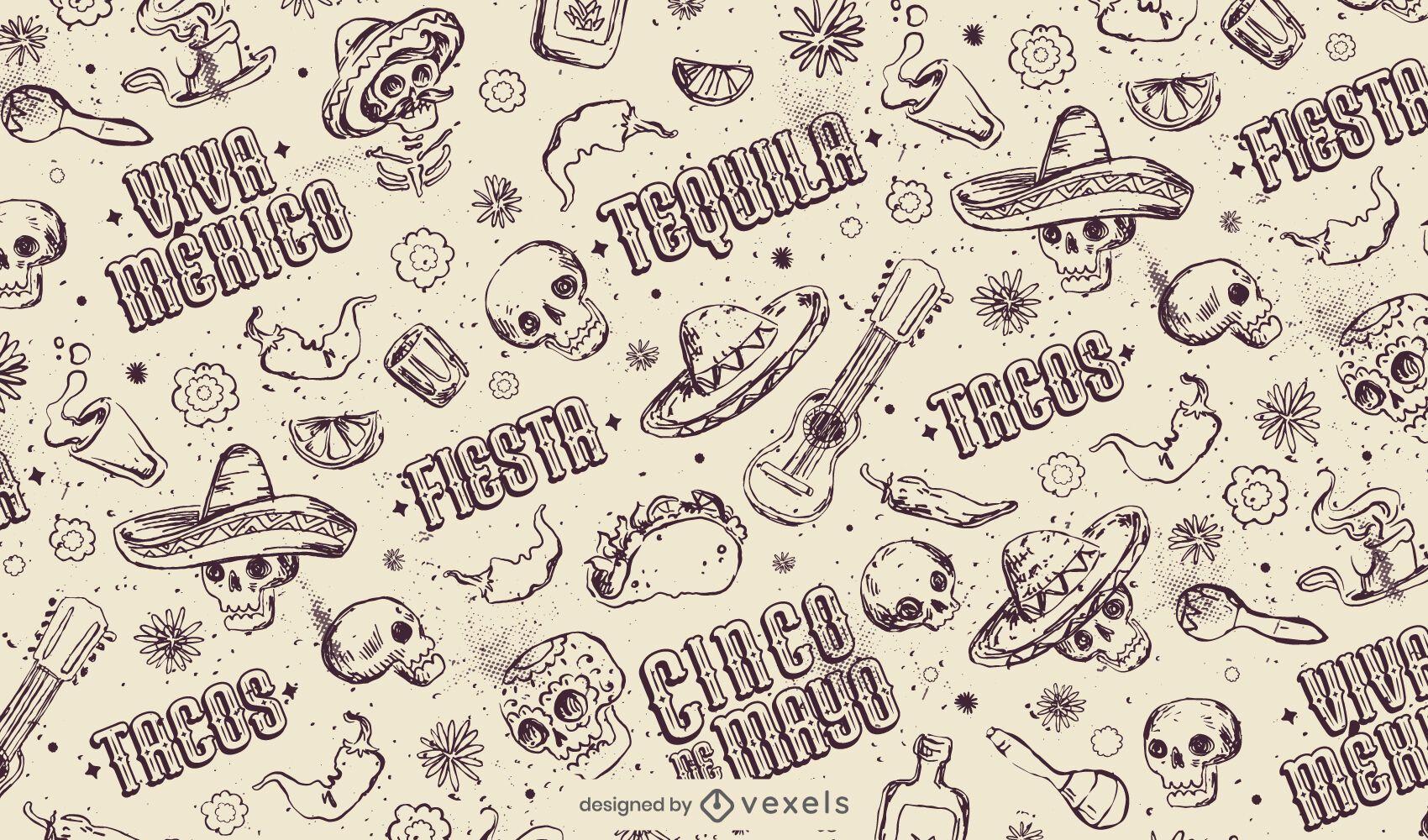 Handgezeichnetes Cinco de Mayo-Muster