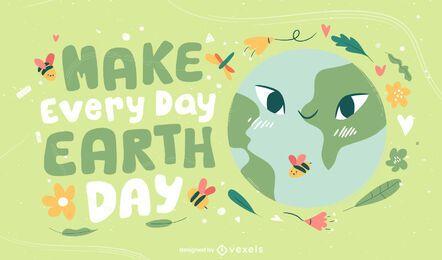 Tägliches Illustrationsdesign des Tages der Erde