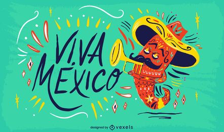 Diseño de ilustración de viva mexico