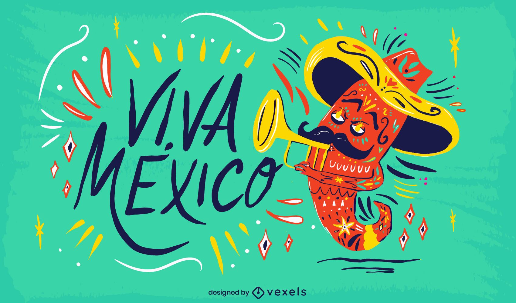 Viva mexico illustration design