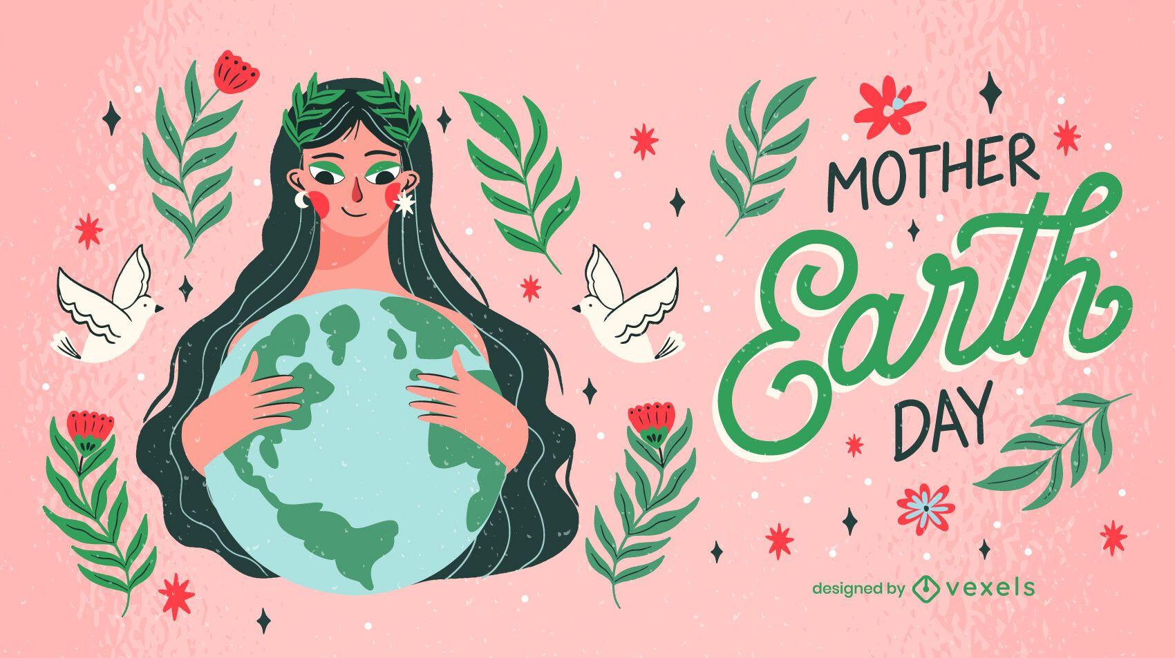 Desenho de ilustração do Dia da Mãe Terra