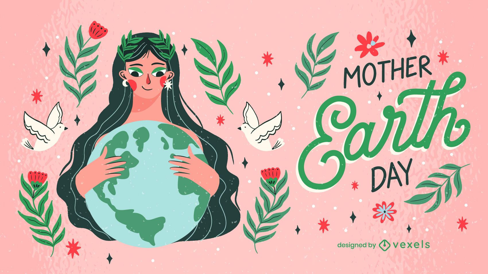 Mother earth day illustration design