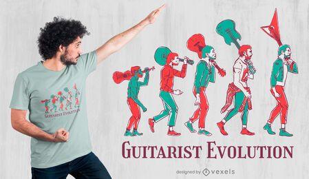 Design de camiseta de evolução para guitarrista