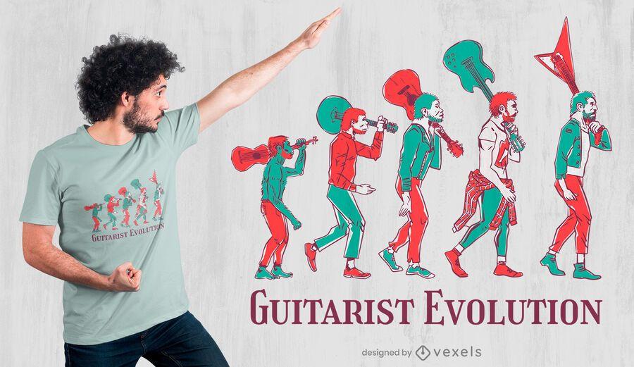 Diseño de camiseta guitarrista evolución.