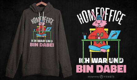 Design de t-shirt de coelho para home office