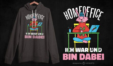 Home-Office-Hasen-T-Shirt-Design