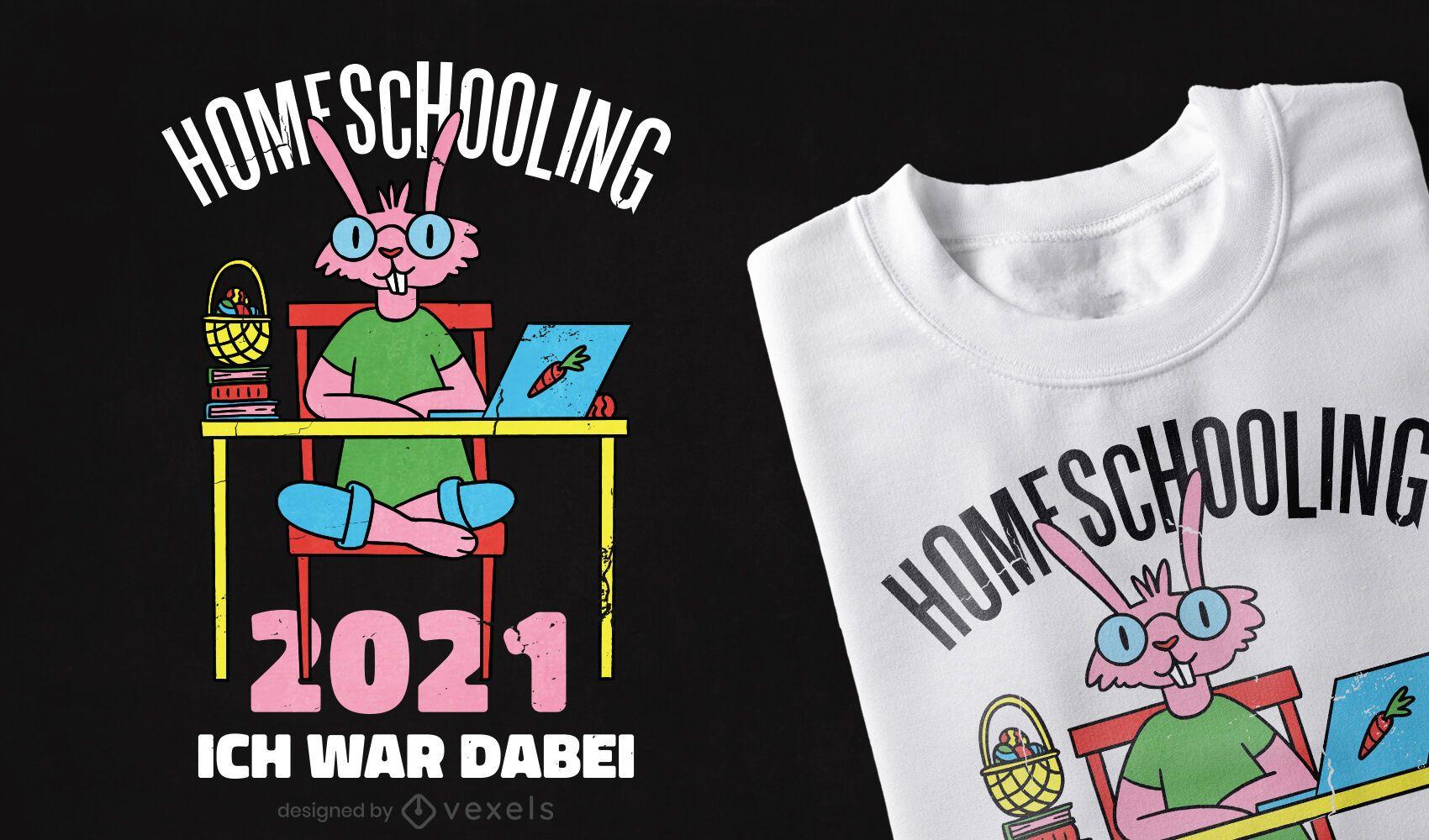 Diseño de camiseta de conejito escolar en casa.