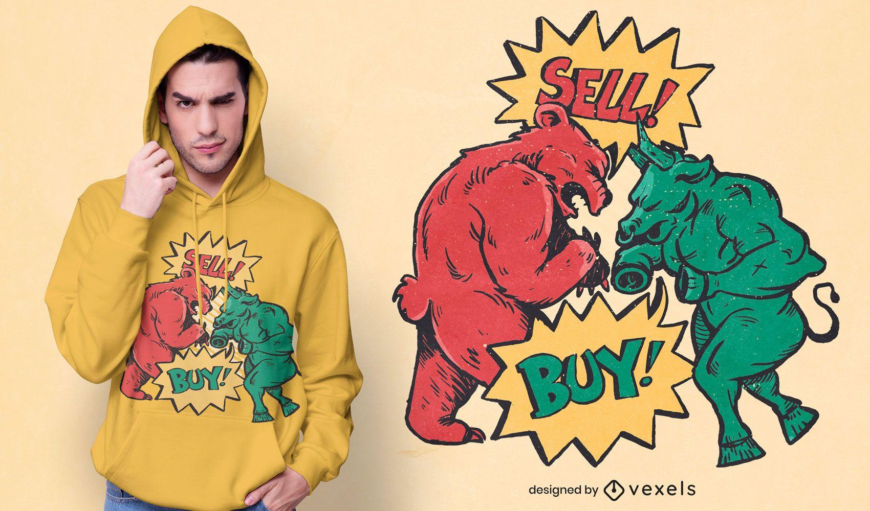Design de t-shirt de urso-touro