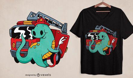 Diseño de camiseta de dinosaurio bombero.