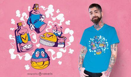 Design de camisetas de personagens de graffiti