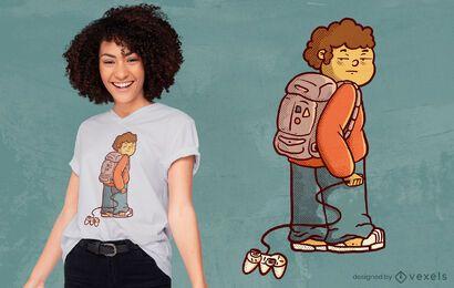 Diseño de camiseta de niño jugador aburrido.