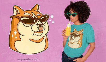 Diseño de camiseta de gafas de sol Doge.