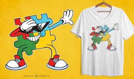Design de t-shirt de quebra-cabeça dabbing