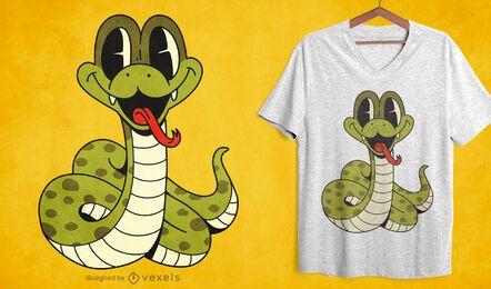 Diseño de camiseta de dibujos animados de serpiente bebé